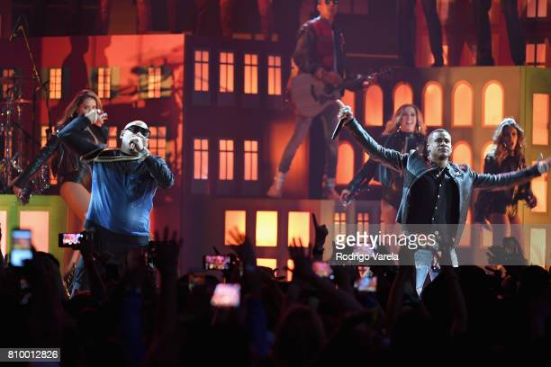 Gente de Zona performs on stage at the Univision's 'Premios Juventud' 2017 Celebrates The Hottest Musical Artists And Young Latinos ChangeMakers at...
