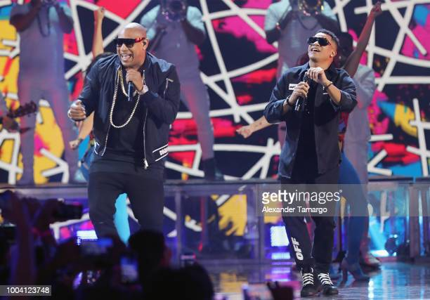 Gente De Zona performs on stage at Univision's Premios Juventud 2018 at Watsco Center on July 22 2018 in Coral Gables Florida