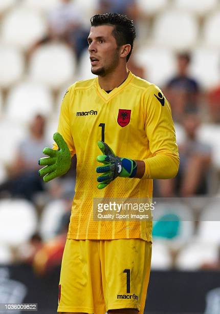 Gentian Selmani of Albania looks on during the 2019 UEFA Under 21 qualifier match between Spain U21 and Albania U21 at Nuevo Arcangel Stadium on...