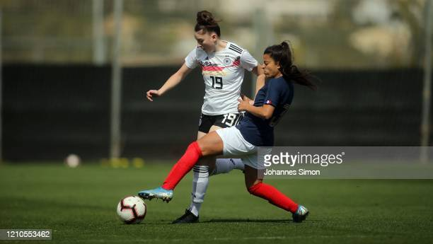 Gentiana Fetaj of Germany and Ines Belloumou of France fight for the ball during the U19 Women's Tournament match between Germany and France at La...