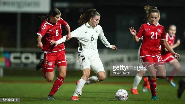 Gentiana Fetaj of Germany and Signe Carstens of Denmark compete for the ball during the U16 Girls international friendly match betwwen Denmark and...