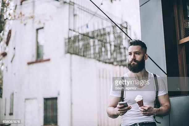 Gentleman eating ice cream