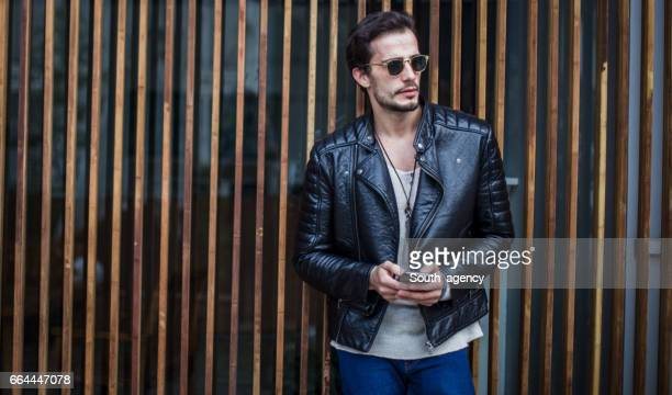 Gentleman in leather jacket