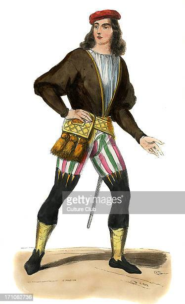Gentleman in reign of Henry VII King of England costume of late 15th century Wearing a doublet multicoloured striped short trousers a red cap and has...