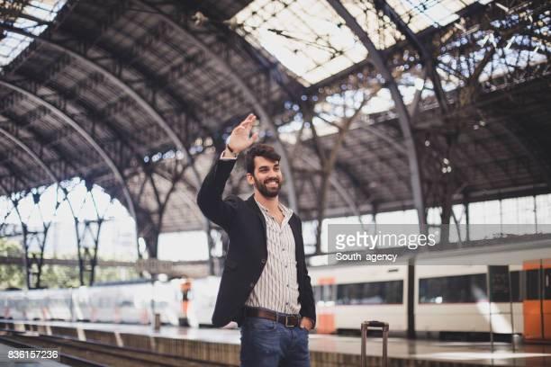 Gentleman saying bye