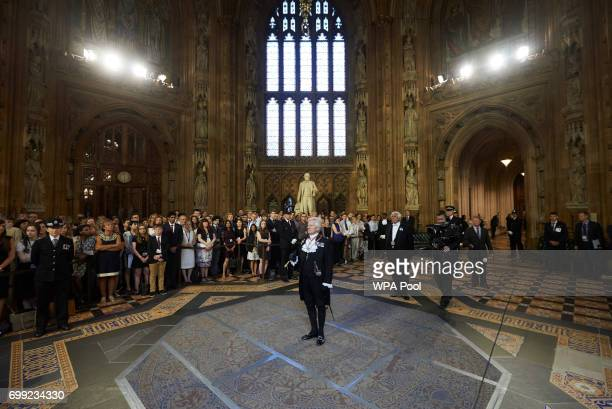 Gentleman Usher of the Black Rod David Leakey stands in the Central Lobby of the Palace of Westminster before summoning the members of parliament in...