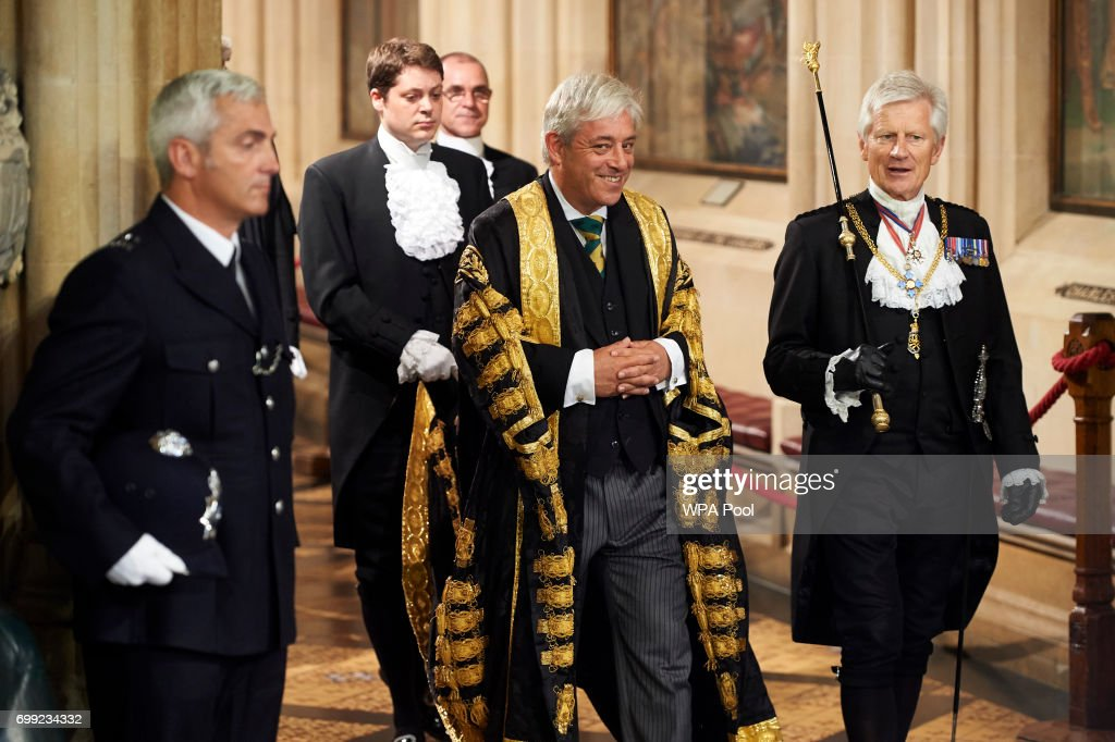Gentleman Usher of the Black Rod, David Leakey (R) walks with Speaker of the House of Commons John Bercow (L) across the Central Lobby of the Palace of Westminster after listening to the Queen's Speech during the State Opening of Parliament on June 21, 2017 in London, United Kingdom. This year saw a scaled-back State opening of Parliament Ceremony with the Queen arriving by car rather than carriage and not wearing the Imperial State Crown or the Robes of State.