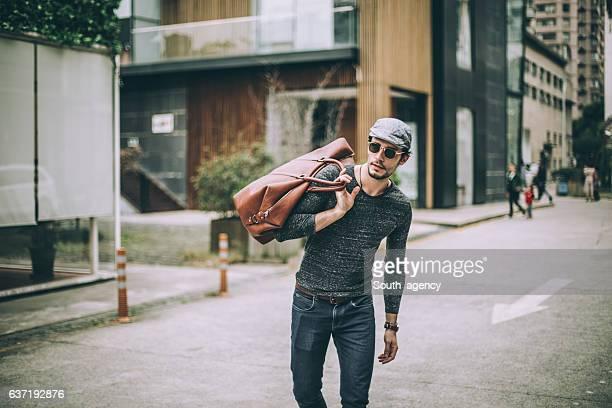 Gentleman with travel bag