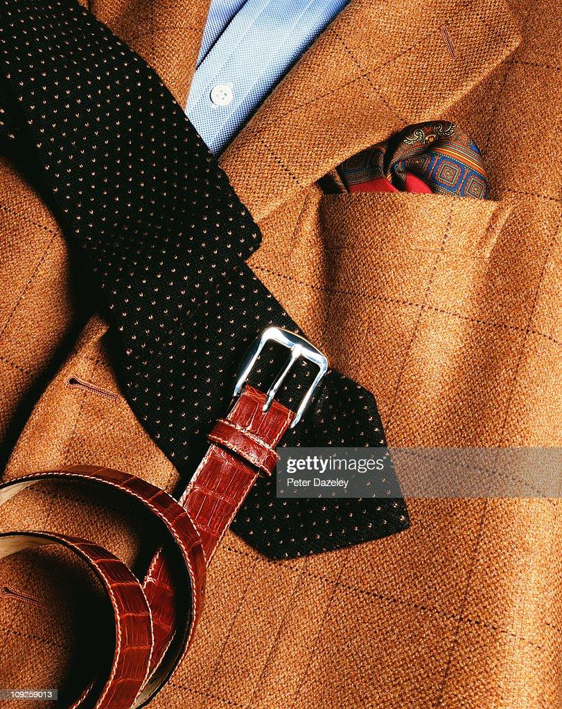 Gentleman's jacket, tie and belt : Stock Photo