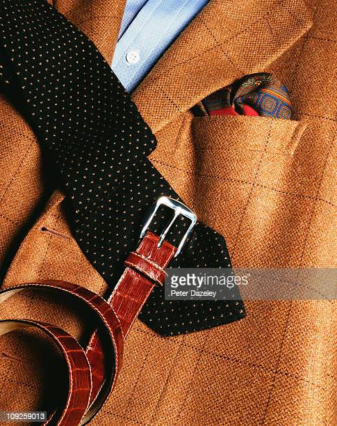 gentleman's jacket, tie and belt - leather belt stock pictures, royalty-free photos & images