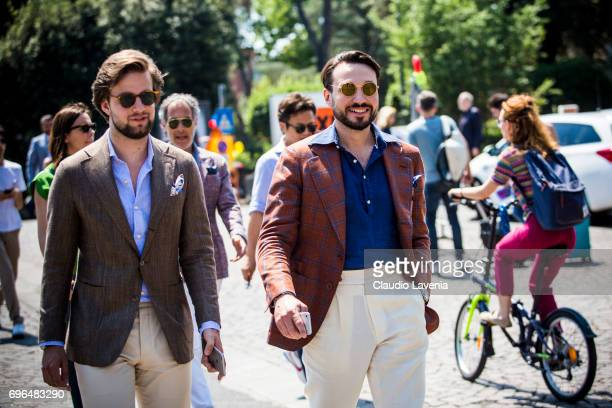 Gentlemen in suit outfit are seen during Pitti Immagine Uomo 92 at Fortezza Da Basso on June 15 2017 in Florence Italy