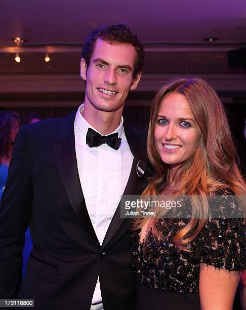 Gentlemen's Singles Champion Andy Murray of Great Britain poses with his girlfriend Kim Sears during the Wimbledon Championships 2013 Winners Ball at...