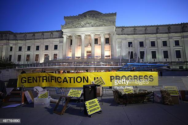 Gentrification in Progress banner in front of Brooklyn Museum ASAP Artists Studio Affordability Project capped a day of protest in front of the...