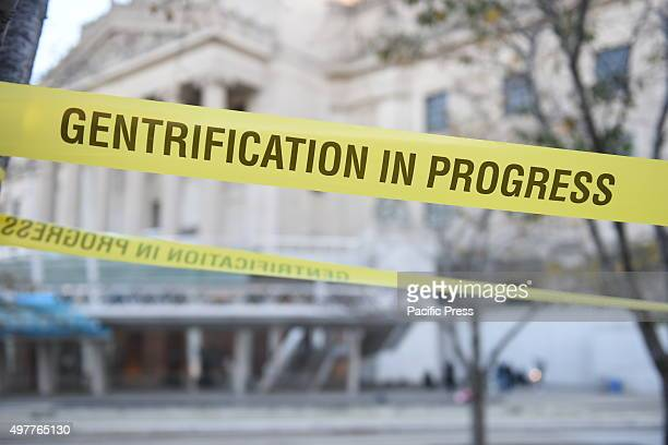 Gentrification In Progress tape in front of Brooklyn Museum ASAP Artists Studio Affordability Project capped a day of protest in front of the...