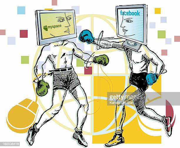 Gentry Mullen color illustration of boxers representing MySpace and Facebook socialnetworking Web sites duking it out