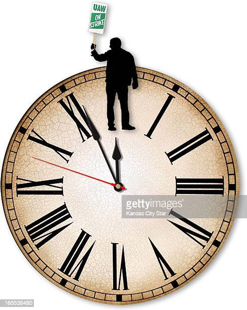 Gentry Mullen color illustration of UAW striker standing on top of clock ticking toward midnight