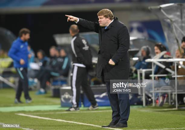 Zenit's coach Andre VillasBoas reacts during the UEFA Champions' League Group H football match KAA Gent vs FC Zenit on December 9 2015 at the KAA...