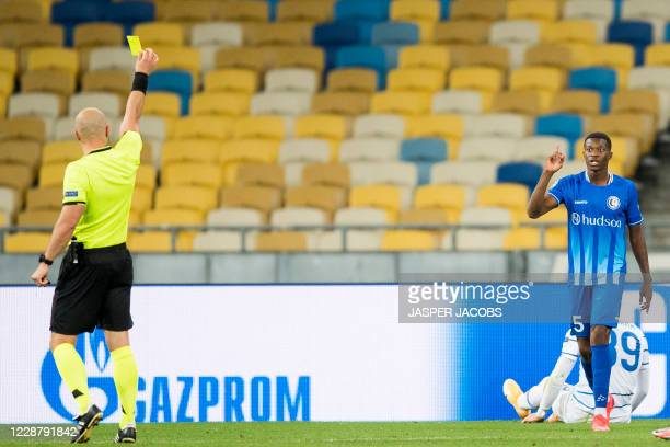 Gents Fortuna Nurio receives a yellow card during a game between Ukrainian club Dynamo Kyiv and Belgian soccer club KAA Gent Tuesday 29 September...
