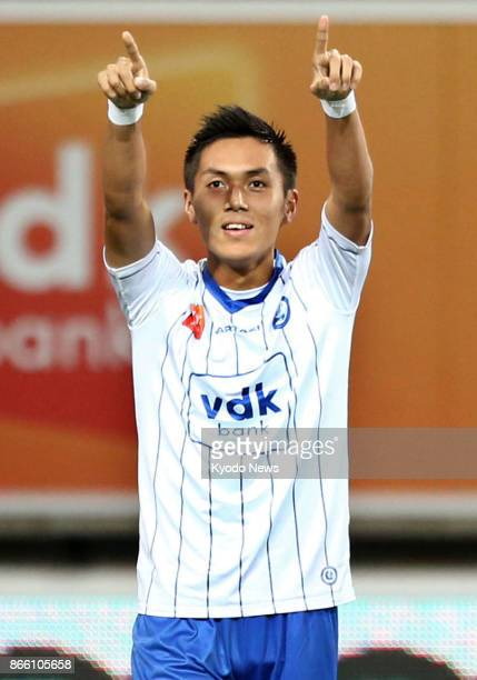 Gent's Japanese striker Yuya Kubo celebrates his firsthalf goal in a 30 home win over Eupen in the Belgian first division on Oct 24 2017 ==Kyodo