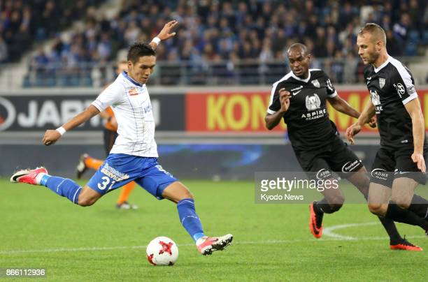 Gent's Japanese striker Yuya Kubo shoots in the second half of a 30 home win over Eupen in the Belgian first division on Oct 24 2017 ==Kyodo