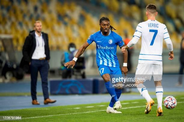 Gents Jordan Botaka and Kyivs Benjamin Verbic fight for the ball during a game between Ukrainian club Dynamo Kyiv and Belgian soccer club KAA Gent...