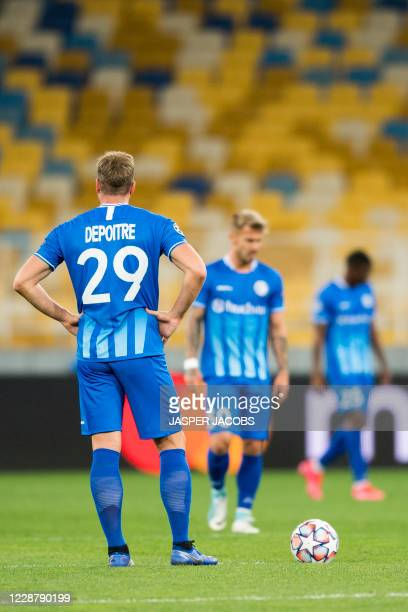 Gents Laurent Depoitre looks dejected during a game between Ukrainian club Dynamo Kyiv and Belgian soccer club KAA Gent Tuesday 29 September 2020 in...