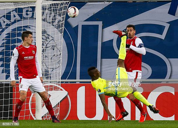 Gent's Malian forward Kalifa Coulibaly scores a goal during the UEFA Europa League football match between Gent and Braga on November 24 in Ghent /...