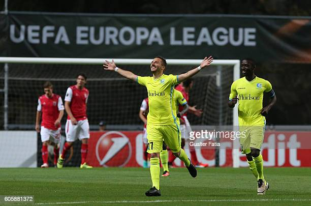 Gent's midfielder Danijel Milicevic from Bosnia celebrates after scoring a goal during the UEFA Europa League match between SC Braga and KAA Gent at...