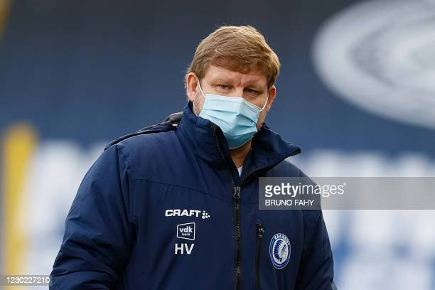 Gent's new head coach Hein Vanhaezebrouck pictured during a soccer match between Club Brugge KV and KAA Gent, Sunday 20 December 2020 in Brugge, on...