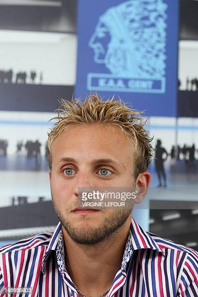Gent's new player Jordan Remacle looks on during a press conference by Belgian first division soccer team AA Gent on July 20 in Gent Gent presented...