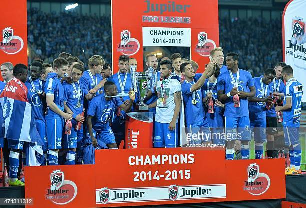 Gent's players and fans celebrate after winning the championship for the first time at the Jupiler Pro League after the Jupiler Pro League match...
