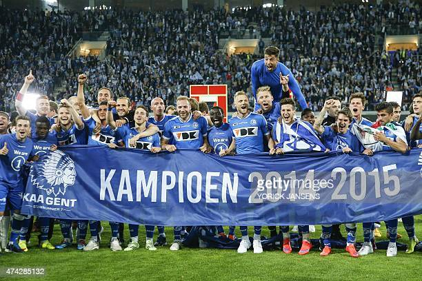 Gent's players celebrate after winning the Belgian championship for the first time at the Jupiler Pro League match between KAA Gent and Standard de...