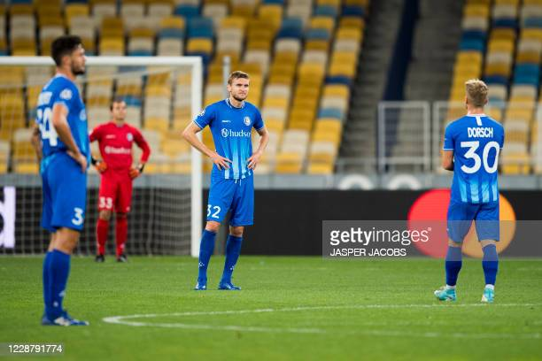 KAA Gents players looks dejected during a game between Ukrainian club Dynamo Kyiv and Belgian soccer club KAA Gent Tuesday 29 September 2020 in Kyiv...