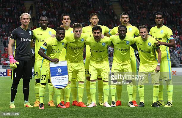 Gent«s players pose for a team photo before the start of the UEFA Europa League match between SC Braga and KAA Gent at Estadio Municipal de Braga on...