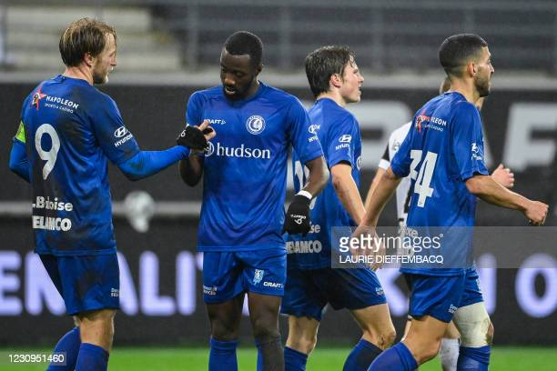 Gent's Roman Bezus celebrates after scoring during a soccer game between KAA Gent and KFC Heur-Tongeren , Wednesday 03 February 2021 in Gent, in the...