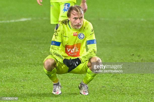Gent's Roman Bezus looks dejected after a soccer match between RSCA Anderlecht and KAA Gent, Sunday 31 January 2021 in Anderlecht, on day 23 of the...