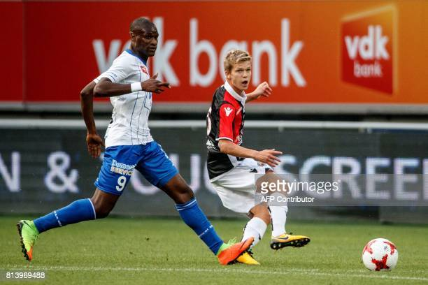 Gent's Samuel Kalu and Nice's Vincent Koziello vie for the ball during a friendly football match between Belgian first league soccer team KAA Gent...