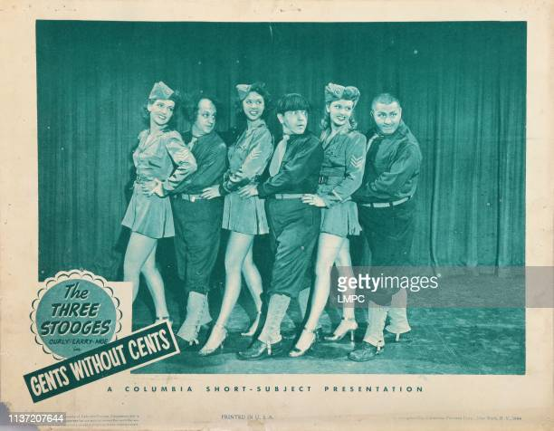 Gents Without Cents lobbycard from left Lindsay Bourquin Larry Fine Laverne Thompson Moe Howard Betty Phares Curly Howard 1944