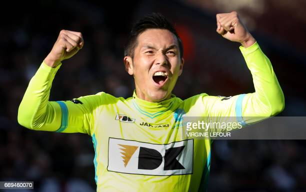 Gent's Yuya Kubo celebrates after scoring a goal during the Jupiler Pro League football match between Sporting Charleroi and KAA Gent on April 17...