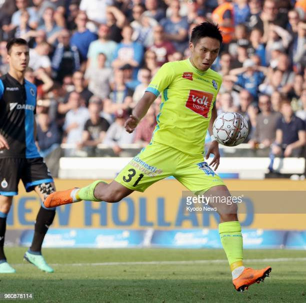 Gent's Yuya Kubo readies to kick during the second half of a 10 win over Club Brugge in the Belgian first division A on May 20 in Bruges ==Kyodo