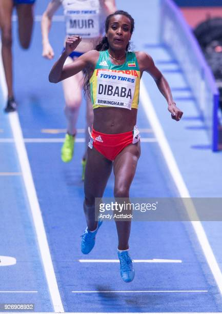 Genzebe Dibaba from Ethiopia celebrates winning the Women's 1500m Final on Day 3 of the IAAF World Indoor Championships at Arena Birmingham on March...