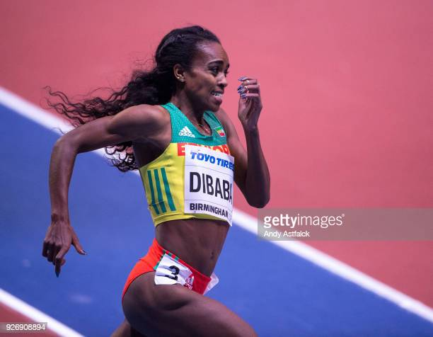 Genzebe Dibaba from Ethiopia during the Women's 1500m Final on Day 3 of the IAAF World Indoor Championships at Arena Birmingham on March 3 2018 in...