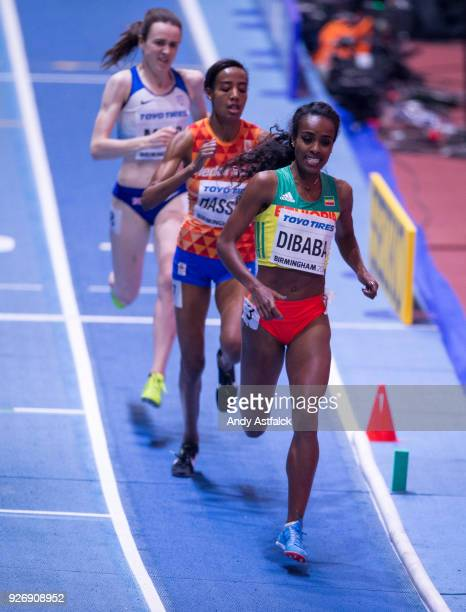 Genzebe Dibaba from Ethiopia leads Sifan Hassan from the Netherlands and Laura Muir of Great Britain during the Women's 1500m Final on Day 3 of the...