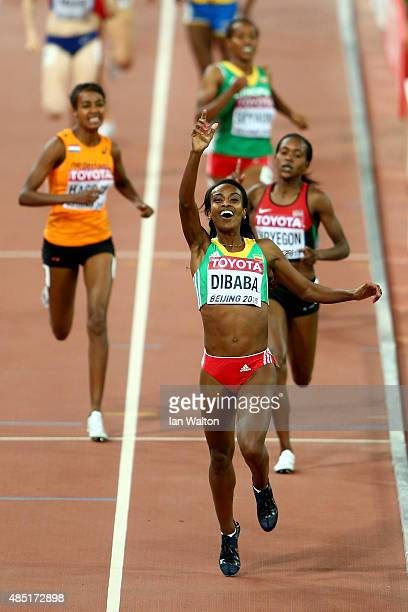 Genzebe Dibaba of Ethiopia crosses the finish line to win gold in the Women's 1500 metres final during day four of the 15th IAAF World Athletics...