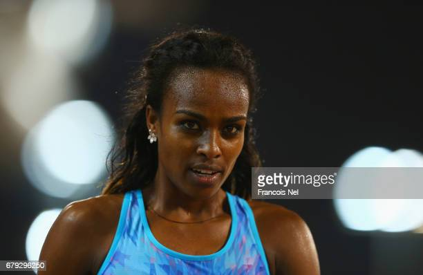 Genzebe Dibaba of Ethiopia looks on after the Women's 800 metres during the Doha IAAF Diamond League 2017 at the Qatar Sports Club on May 5 2017 in...