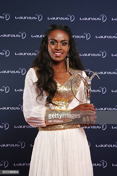 Genzebe Dibaba of Ethiopia nominee of Laureus World Sportswoman of the Year Award attends the 2016 Laureus World Sports Awards at Messe Berlin on...