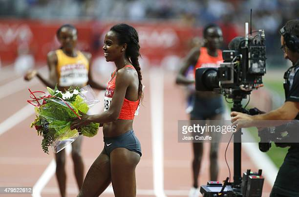 Genzebe Dibaba of Ethiopia wins the women's 5000m during the Meeting AREVA of the IAAF Diamond League 2015 held at Stade de France on July 4 2015 in...