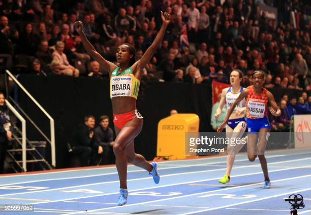 Genzebe Dibaba of Ethopia celebrates winning the womens 3000 metres final ahead of Sifan Hassan of Netherlands and Laura Muir of Great Britian on Day...