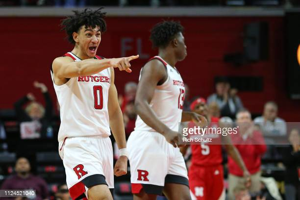 Geo Baker of the Rutgers Scarlet Knights in action against the Nebraska Cornhuskers during a game at Rutgers Athletic Center on January 21 2019 in...
