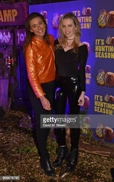 Geo Rushby and Ella Walsh attend the Grand Opening of the Cadbury Creme Egg Camp on January 18 2018 in London England